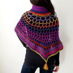 Poncho de lana reservados con collar luz & asimétrica por Joik