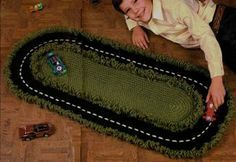 Free Racetrack Rug Crochet Pattern....great gift for little boys! Thinking my Matchbox loving nephew might love this!!!