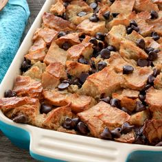 Try our delicious bread pudding with homemade vanilla sauce for a yummy dessert that's not too sweet! - Everyday Dishes & DIY