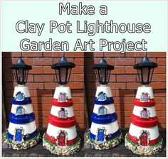How to make a clay pot lighthouse garden art project is a frugal yet whimsical project made from stuff you may already have around your home. This miniatur