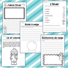 Hiver fiches d'activités Christmas Writing, Core French, French Classroom, French Resources, French Immersion, Teaching French, Toddler Learning, Teacher Hacks, Winter Activities