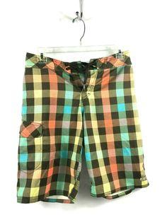 20b8c2d994 Quicksilver Mens 28 Brown Multi Plaid Swim Shorts Trunks #Quiksilver  #Trunks Swim Shorts,