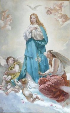 Maria Angela Grow: Lessons from the Divine Office for The Immaculate Conception of the Blessed Virgin Mary: On the Assumption of the Blessed Virgin Mary from a Sermon by St. Jerome the Priest Blessed Mother Mary, Blessed Virgin Mary, Catholic Art, Religious Art, Santa Maria, Assumption Of Mary, Image Jesus, Images Of Mary, Queen Of Heaven