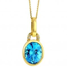Blue Topaz Necklace in 14kt Yellow Gold with Diamonds (.02ct tw)