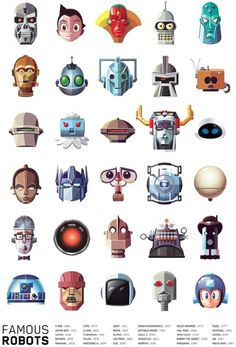Illustrated Collection of Famous Movie, TV, Comic & Video Game Robots