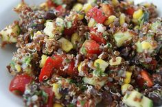 mexican quionoa salad- made for lunch.  Very Good!!  Used regular Quinoa instead of the red quinoa. JA