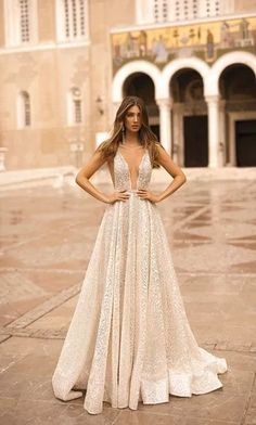 Ball gown sparkly wedding dress sleeveless deep v neckline princess See more gorgeous wedding dresses by clicking on the photo wedding food BERTA Wedding Dresses Fall 2019 - Athens Bridal Collection Gorgeous Wedding Dress, Bridal Wedding Dresses, Dream Wedding Dresses, Designer Wedding Dresses, Berta Bridal, Prom Dresses, Cocktail Wedding Dress, Beige Wedding Dress, Reception Dresses