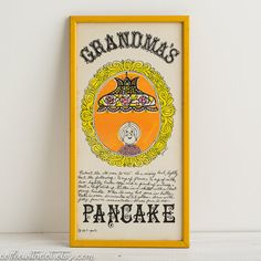 This listing is for one amazing vintage framed print designed by Pati for Soovia Janis. It features vintage recipe art. This piece would be
