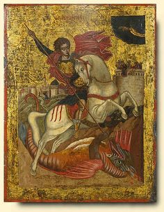 Saint George and the Dragon Greek, Ionian Islands School Mid century Tempera and gold on gesso and wood Panel: x cm George & Dragon, Saint George And The Dragon, Byzantine Art, Byzantine Icons, Religious Icons, Religious Art, Hl Georg, Christian Artwork, Russian Icons