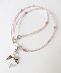Glasketten - Kristall-Kette  mit Schutzengel  rosa-lachsfarben - ein Designerstück von soschoen bei DaWanda