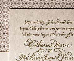 Letterpress Wedding Invitations | Classic Calligraphy Design | Bella Figura Letterpress