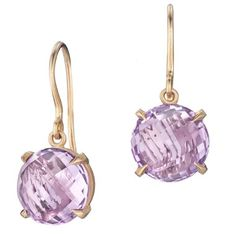 These 18kt rose gold drop earrings, from the Signature Collection by Carelle, feature 2 round facetted roses de France of 10mm.