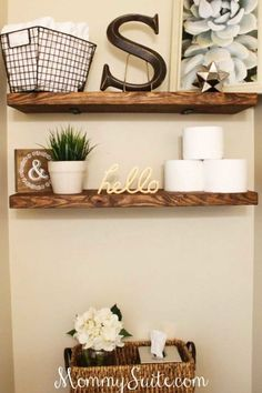 DIY Faux Floating Shelves:  Assemble these shelves above your toilet to organize and display your bathroom knickknacks.