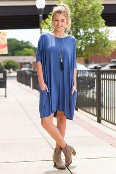 """Blue Dress - Pocket Dress - Casual"""