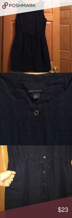Tommy Hilfiger XXL button-up dress Tommy Hilfiger XXL button-up dress navy lined with front pockets and tie waist sleeveless Tommy Hilfiger Dresses