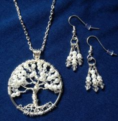 Bridal Set - Pearl and Crystal Tree of Life and Drop Pearl Earrings-Bridal Set -Bridal Party Sets Hand Custom by Just4FunDesign