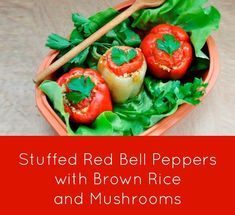 Make this stuffed red bell peppers with brown rice and mushrooms recipe and even your non-veg friends will love it! Red Rice And Sausage Recipe, Red Rice Recipe Mexican, Red Rice Recipe Southern, Red Rice Salad Recipe, Red Beans And Rice Recipe Vegan, Vegetarian Rice Recipes, Easy Rice Recipes, Vegetable Recipes, Wine Recipes