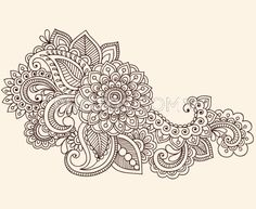 Hand-Drawn Abstract Henna Mehndi Flowers and Paisley Doodle Vector Illustration Design Element - stock vector Mehndi Tattoo, Henna Tattoos, Henna Mehndi, Et Tattoo, Henna Art, Mandala Tattoo, Paisley Tattoos, Henna Mandala, Tattoo Pics