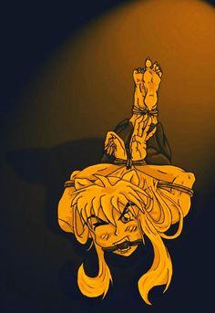 Inuyasha tied up.