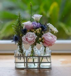 Country Living / The Flower Studio / Flower Bottles of Garden Rose and Scented Herbs Little Flowers, Fresh Flowers, Pink Flowers, Beautiful Flowers, Milk Bottle Flowers, Flower Bottle, Christmas Centerpieces, Wedding Centerpieces, Flower Delivery Uk