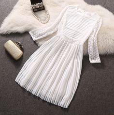 Ladies round neck lace dress ER30410PO