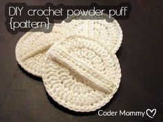 Save money by making your own crochet powder puff for your makeup bag