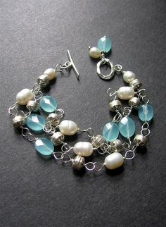 glass and freshpearl bead bracelet