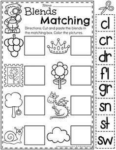 Blends Worksheets for Kids – Matching Blends to Pictures - Kids education and learning acts Consonant Blends Worksheets, Digraphs Worksheets, Phonics Blends, Blends And Digraphs, Comprehension Worksheets, Number Worksheets, Alphabet Worksheets, Reading Comprehension, Phonics Activities