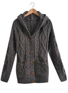 Dark Grey Hooded Long Sleeve Cardigan Sweater Coat