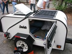 teardrop camper with tent Small Camping Trailer, Diy Camper Trailer, Tiny Camper, Off Road Trailer, Small Trailer, Car Camper, Small Campers, Camper Caravan, Travel Trailers