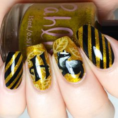 Hufflepuff Pride nails