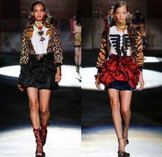 Dsquared2 2017 Spring Summer Womens Runway Catwalk Looks - Milano Moda Donna Collezione Milan Fashion Week Italy - D2ynasty Destroyed Acid Wash Denim Jeans Marching Band Jacket Crest Emblem Leg O'Mutton Sleeves Balloon Shoulders Embroidery Bedazzled Sequins Plaid Check Shirt Silk Satin Leopard Ornaments Vest Waistcoat Pussycat Bow Ribbon Buttons Tuxedo Stripe Ruffles Miniskirt Sheer Chiffon Bomber Jacket Unitard Leotard Lace Up Gladiator Heels Handbag Bracelet Necklace Pop Art Chain