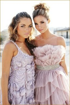 Lavender and pale pink bridesmaids