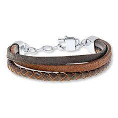"""Kay - Men's Leather Bracelet Stainless Steel 9"""" Length"""