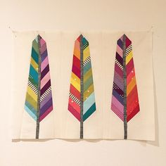 mini rainbow feather quilt by spotted stone Small Quilts, Mini Quilts, Baby Quilts, Quilt Block Patterns, Quilt Blocks, Arrow Quilt, Nine Patch Quilt, Bird Quilt, Quilted Pillow