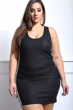 Feel casually sexy in this plus size denim mini dress. Features a dark denim wash, body-hugging fit, and contrast crochet detailing at the sides. Made with a scoop neckline, zip-up back, and finished hem. Sleeveless.