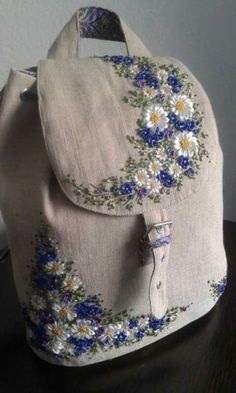 Very stylish linen bag, decorated with embroidery. Special care is required, wa. Very stylish linen bag, decorated with embroidery. Embroidery Bags, Learn Embroidery, Silk Ribbon Embroidery, Hand Embroidery Patterns, Embroidery Stitches, Machine Embroidery, Embroidery Designs, Embroidery Supplies, Flower Embroidery