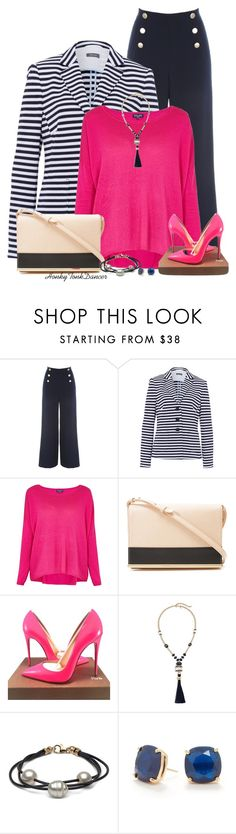 """Pink,Navy and Nude"" by honkytonkdancer ❤ liked on Polyvore featuring Jane Norman, Basler, Splendid, See by Chloé, Christian Louboutin, Chico's, Kate Spade, blueandwhite, Nautical and hotpink"