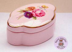 "Royal Adderley 'Floral': Pink Pill / Trinket Box: 2⅝"" Long"