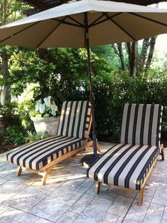 Sunbrella Berenson Tuxedo Stripe fabric is featured on these custom chaise lounge cushions.