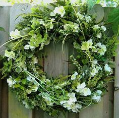 Green Summer Wreath, nice for weddings, Diana Wreath, green year-round wreath, mixed green foliage, white & green hydrangea on Etsy, $70.00