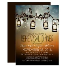 rustic garden lights - lanterns rehearsal dinner card