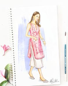 A pastel pink kurti with silver gota patti work, breezy bottoms and traditional juttis - all makes for a pretty Indian look! ✨ What's your pick when it comes to Indian outfits, share your style ideas in comments. Dress Design Drawing, Dress Design Sketches, Fashion Design Sketchbook, Fashion Design Drawings, Dress Drawing, Fashion Sketches, Dress Designs, Fashion Figure Drawing, Fashion Drawing Dresses