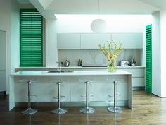Best inspiration green kitchen shutters interior deliver successful revelation integrate color penetration, substance connection, design blend alliance and design plan idea, which the all part combine simultaneously to create wonderful kitchen interior. Kitchen Shutters, Wooden Window Shutters, Cedar Shutters, Green Shutters, Diy Shutters, Interior Shutters, Open Plan Kitchen, Kitchen Ideas, Green Kitchen