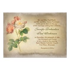 """vintage roses aged wedding invitations intage aged paper design wedding invitations with victorian roses painting. I suggest the """"Linen"""" or """"Felt"""" paper for this design. If you need more additional products (like rsvp, reception, letterheads, wedding stickers etc), please contact me."""