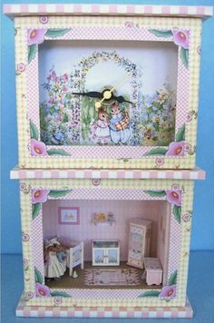 """Pink Nursery Clock and Roombox Kit in Quarter Inch or 1/4"""" or 1:48th Scale"""