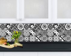 Black and white design 24 tile stickers Mexican by AlegriaM