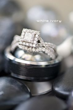 Princess cut with diamond accent wedding ring and band
