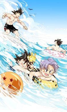 Goku, Gohan, Goten & Trunks at the beach