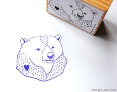 bear stamp by marga marina on dawanda